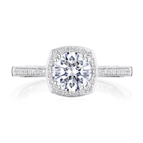 Tacori Coastal Crescent Cushion Halo Engagement Ring P103CU65FW