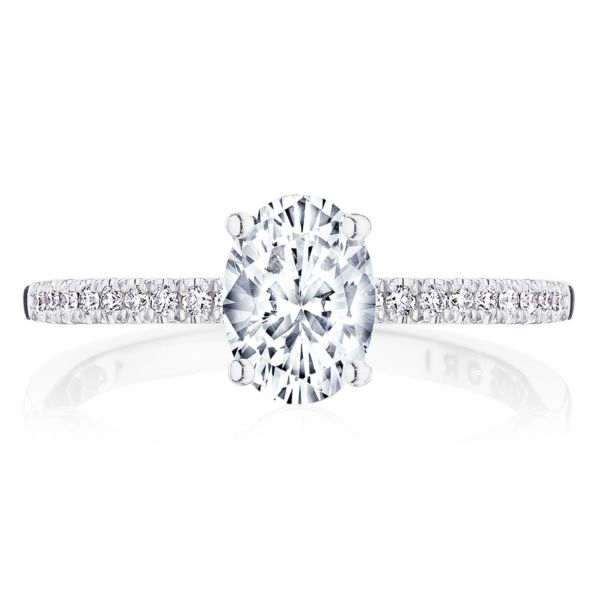 Tacori Coastal Crescent 14K White Gold Oval Center Diamond Engagement Ring P104OV7X5FW