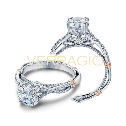 Verragio 18K White Gold Round Center Diamond Engagement Ring Parisian-105