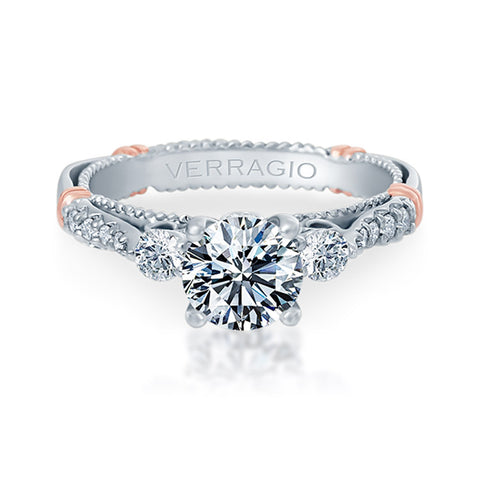 Verragio 14K White Gold Three-Stone Engagement Ring PARISIAN-124R