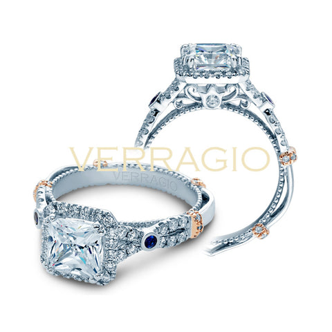 Verragio 14K White Gold Sapphire Diamond Engagement Ring PARISIAN-CL-DL109P