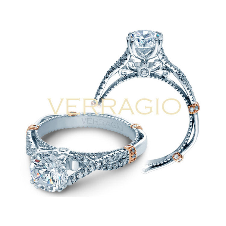 Verragio 14K White & Rose Gold Twisted Band Engagement Ring PARISIAN-DL105