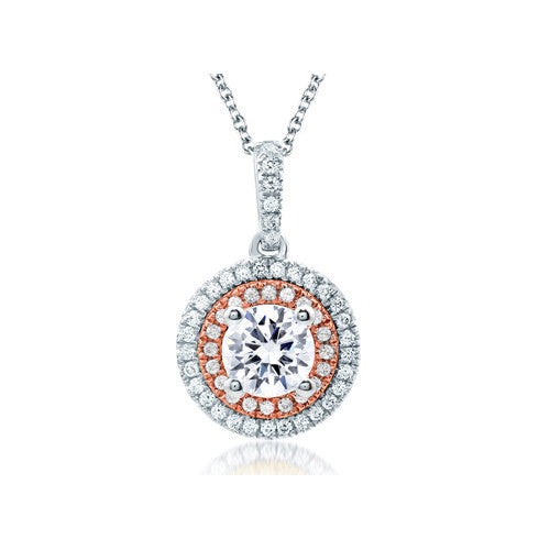 A.JAFFE Double Halo Rose Gold Diamond Pendant PD0870