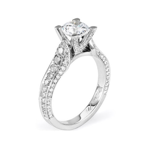 Michael M Amore 18K White Gold Diamond Engagement Ring R374-1