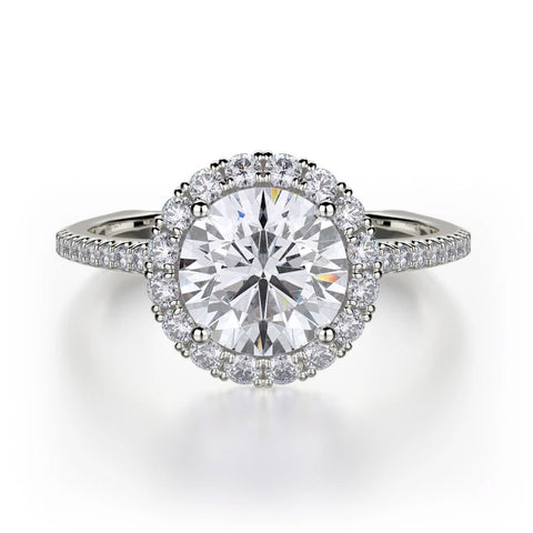 Michael M EUROPA 18K White Gold Engagement Ring R440S-1
