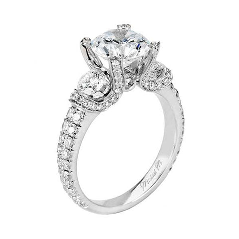 Michael M 18K White Gold Three Stone Diamond Engagement Ring R471-2