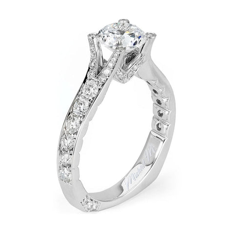 Michael M Amore Pave and Bead Diamond Engagement Ring R508-1