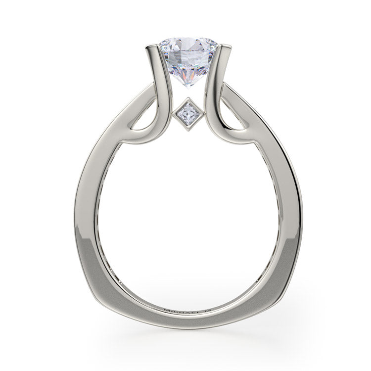 Michael M Strada 18K White Gold Engagement Ring R672-1.5