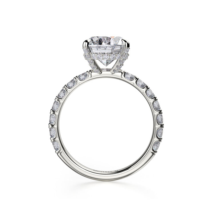 Michael M Crown Oval Center Diamond Engagement Ring R731-3