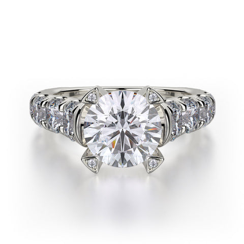 Michael M STELLA 18K White Gold Round Center Engagement Ring R732-2