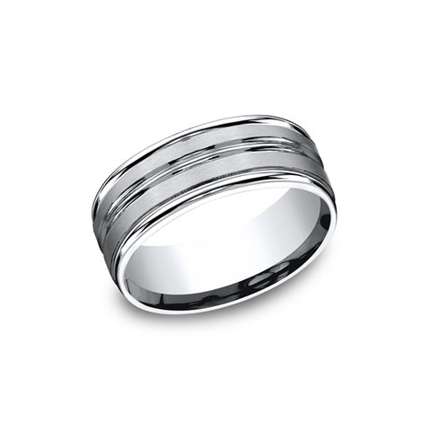 Benchmark Comfort-Fit Satin-Finished Cobalt 8mm Men's Wedding Band RECF58180CC