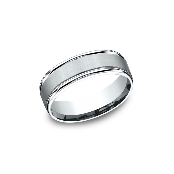 ae0431c0c9f Benchmark Comfort-fit Classic 14K White Gold 7MM Men s Wedding Band  RECF7702S