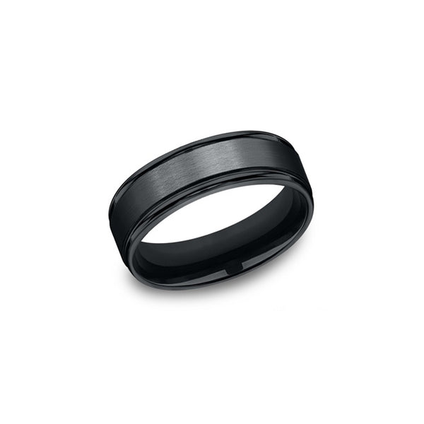 Benchmark Comfort-Fit Black Cobalt 7mm Men's Wedding Band RECF7702SBKCC