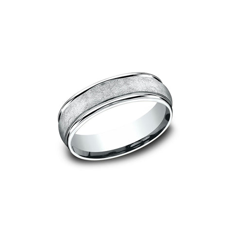 Benchmark Comfort-Fit 14K White Gold 6.5mm Men's Wedding Band RECF86585