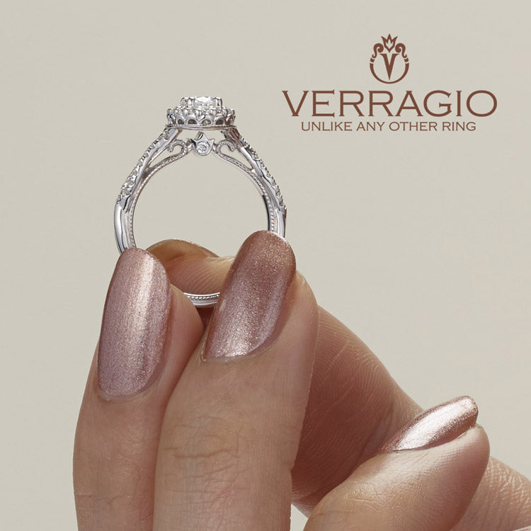 Verragio 14K White Gold Oval Center Diamond Engagement Ring Renaissance-918OV