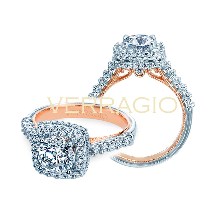 Verragio Two Tone Halo Diamond Engagement Ring Renaissance-926CU7-TT