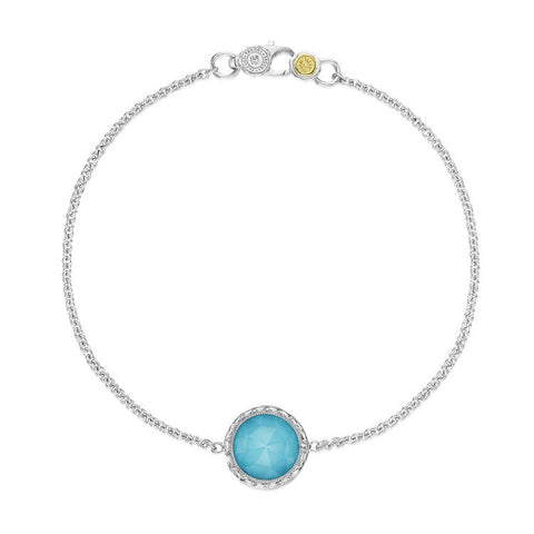 Tacori Floating Bezel Clear Quartz Over Neolite Turquoise Bracelet SB16605