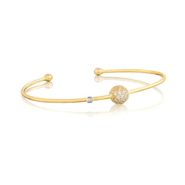 Tacori 18K Yellow Gold Single Pavé Wire Bangle SB212Y-S