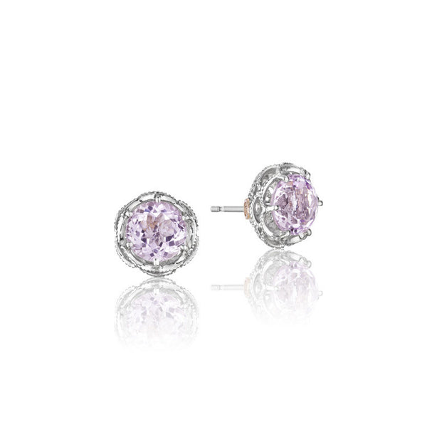Tacori Lilac Blossoms Crescent Crown Rose Amethyst Stud Earrings SE10513