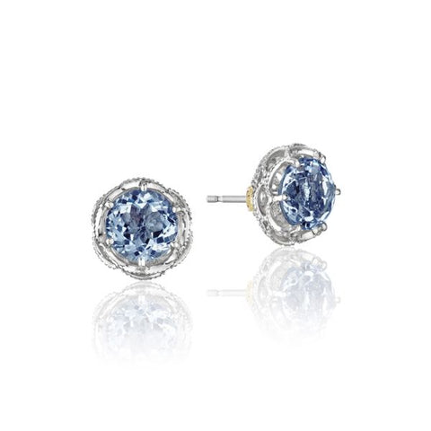 Tacori Crescent Crown London Blue Topaz Silver Stud Earrings SE10533