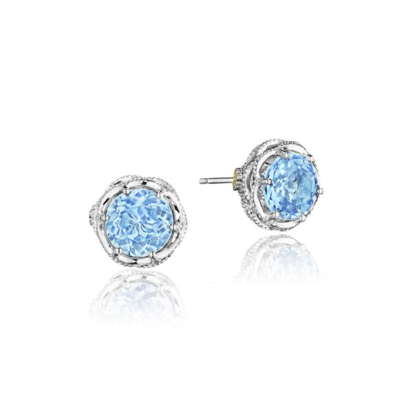 5fc11431ddf0d0 Tacori Crescent Crown Studs featuring Swiss Blue Topaz SE10545