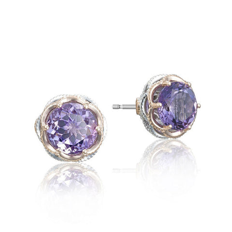 Tacori Lilac Blossoms Crescent Crown Stud Earrings SE105P01