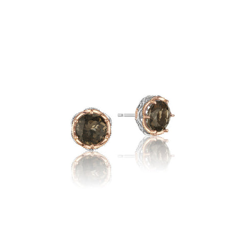 Tacori Color Medley Crescent Crown Smokey Quartz Studs SE105P17