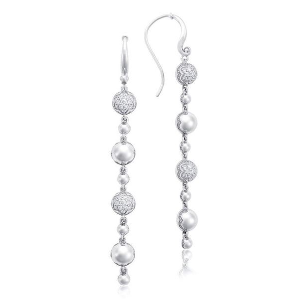 Tacori Silver Pavé Dew Drop Line Diamond Earrings SE222