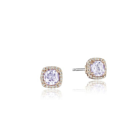 Tacori Petite Pavé Frame Earrings featuring Rose Amethyst SE244P13