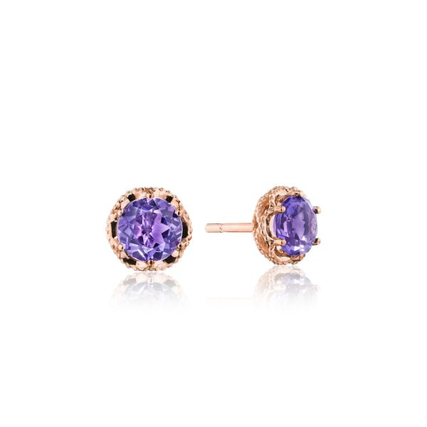 Tacori Petite Crescent Crown Studs featuring Amethyst and Rose Gold SE25301FP