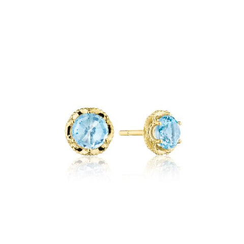 Tacori Petite Crescent Crown Sky Blue Topaz and Yellow Gold Stud Earrings SE25302FY
