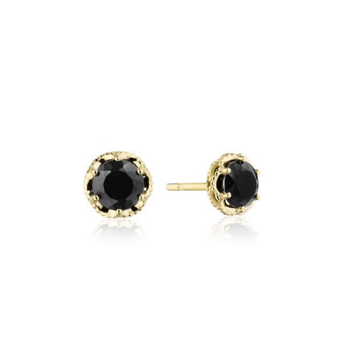 Tacori Petite Crescent Crown Black Onyx and Yellow Gold Stud Earrings SE25319FY