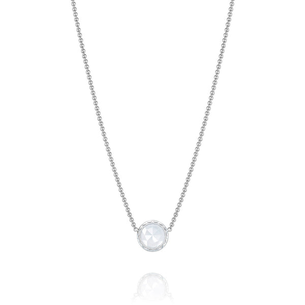 Tacori Floating Bezel Chalcedony Silver Necklace SN15303