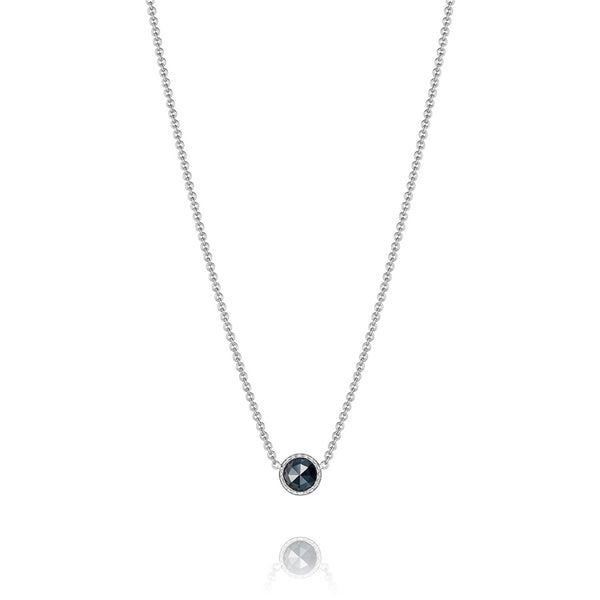 Tacori Petite Floating Bezel Black Onyx Silver Necklace SN15419