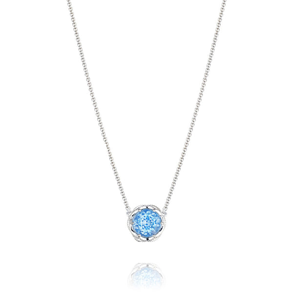 Tacori Bold Crescent Station Silver Swiss Blue Topaz Necklace SN22445