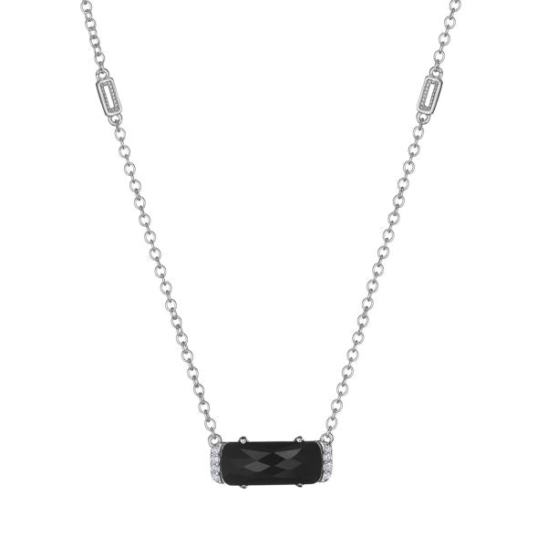 Tacori Solitaire Emerald Cut Gem Necklace with Black Onyx SN23419