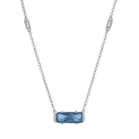 Tacori Solitaire Emerald Cut Gem Necklace with London Blue Topaz SN23433