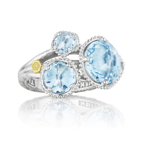 Tacori Island Rains Budding Brilliance 3 Stone Sky Blue Topaz Ring SR13702