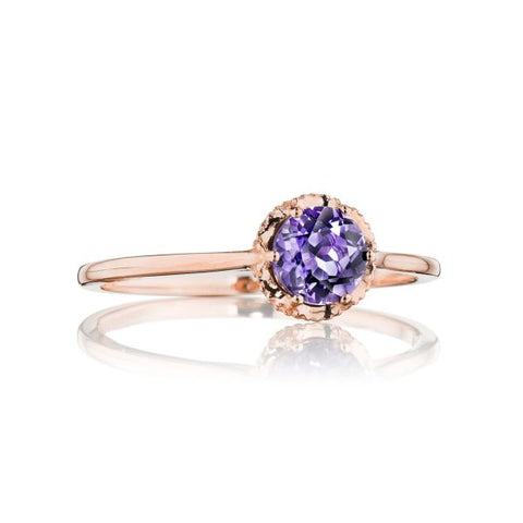 Tacori Petite Crescent Crown Amethyst Gem Ring SR23401FP