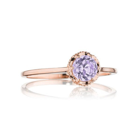 Tacori Petite Crescent Crown Gem Ring featuring Rose Amethyst SR23413FP