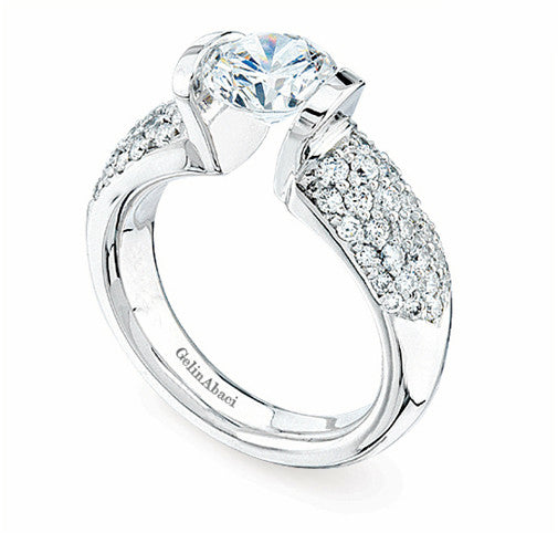 Gelin Abaci Tension White Gold Engagement Ring TR-141A