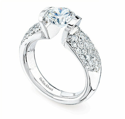 Gelin Abaci Tension White Gold Engagement Ring TR-141