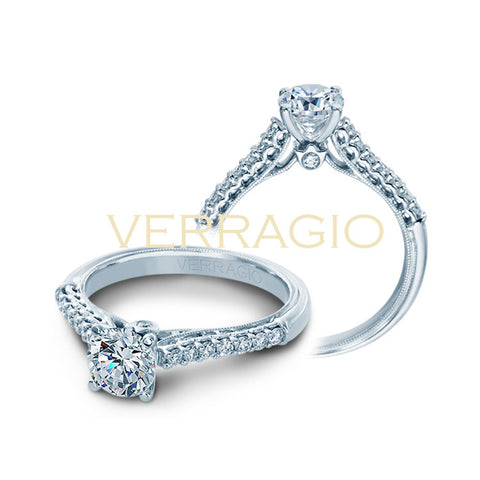 Verragio 14K White Gold Round Center Diamond Engagement Ring Renaissance-901R6