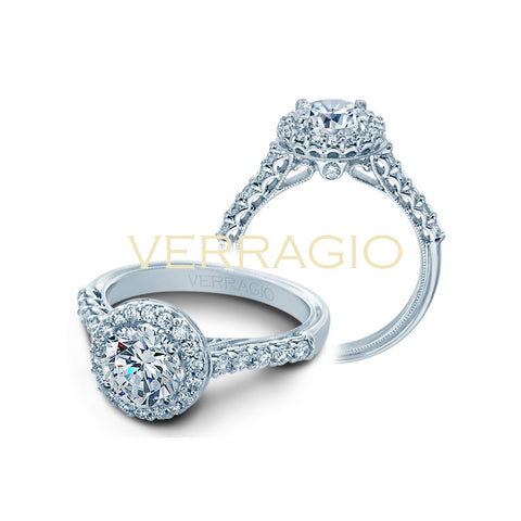 Verragio 14K White Gold Halo Diamond Engagement Ring Renaissance-903R6