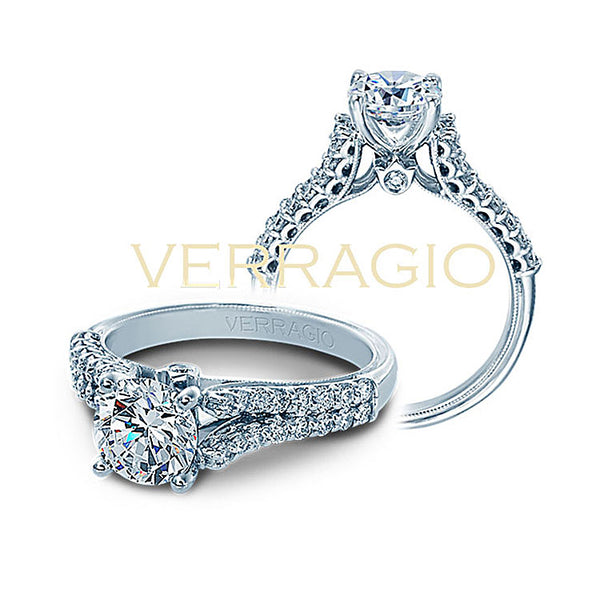Verragio Classic 14K White Gold Round Center Engagement Ring V-910-R7