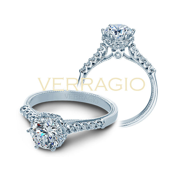Verragio 14K White Gold Round Center Diamond Engagement Ring Classic-938R6