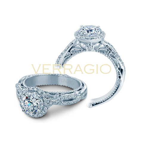 Verragio 18K White Gold Round Center Halo Engagement Ring VENETIAN-5005R-2