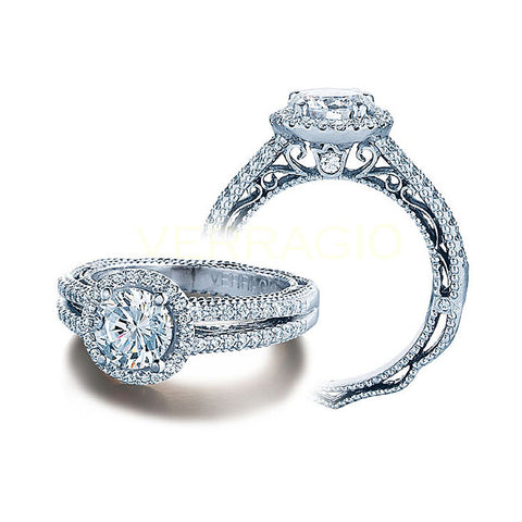 Verragio 18K White Gold Round Center Engagement Ring VENETIAN-5007R-4