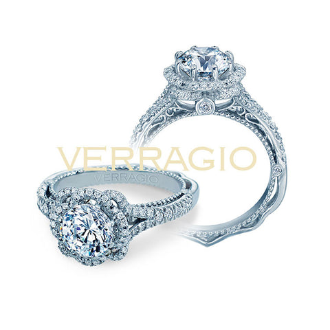 Verragio 18K White Gold Round Cut Center Halo Engagement Ring VENETIAN-5050R