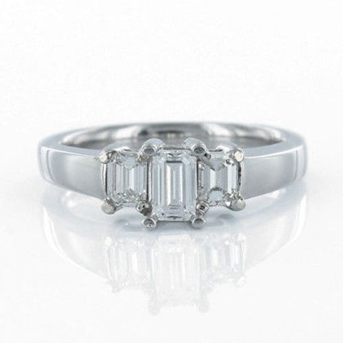 A.JAFFE 18K White Gold Emerald-Cut Diamond Engagement Ring WR0463/100